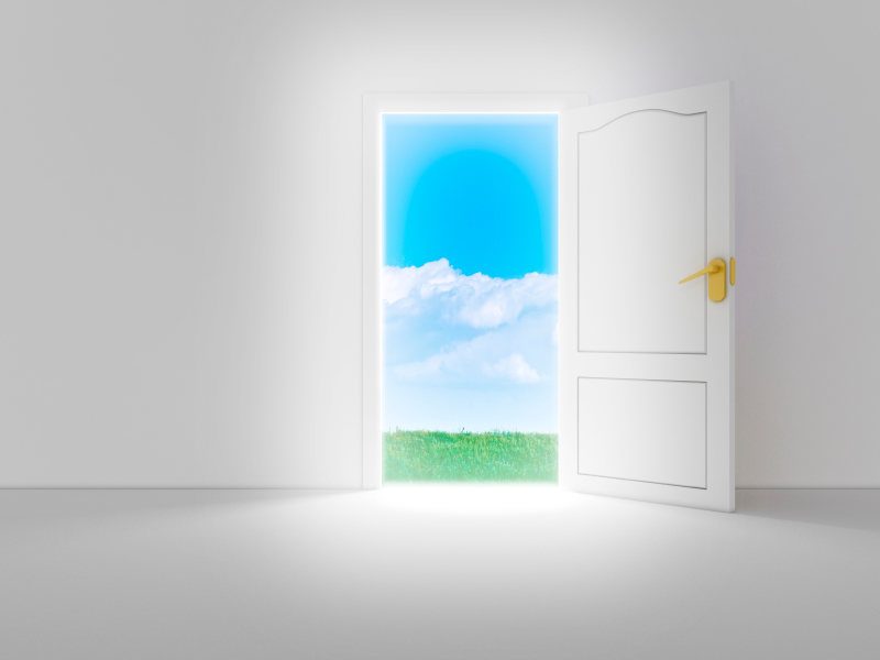 Empty white room with opened door and beautiful view, 3d render